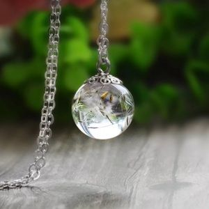 New! Dry Dandelion Glass Pendant Heart Necklace